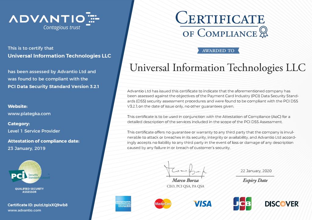 PCI DSS v.3.2.1 Certificate